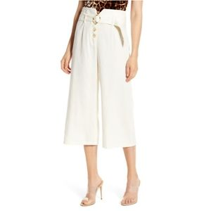 JUNE & HUDSON Belted High Waist Culottes In Ivory
